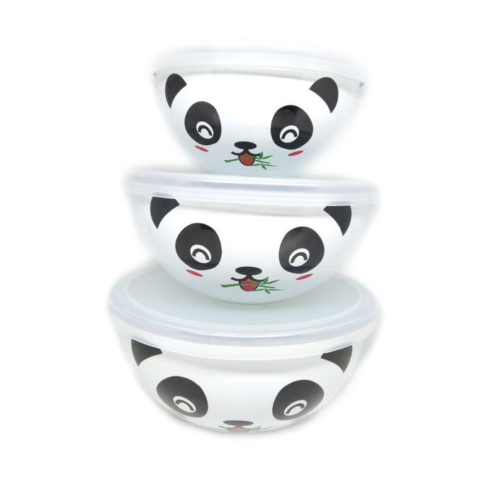 MASPION - ENAMEL BOWL WARE MAGIC BOWL HELLO PANDA SET 10,12,14